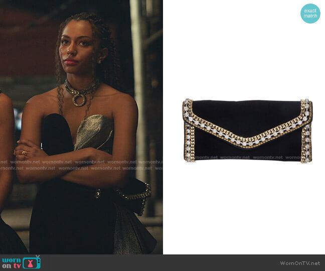 Envelope Velvet Clutch Bag by Judith Leiber worn by Monet de Haan (Savannah Lee Smith) on Gossip Girl
