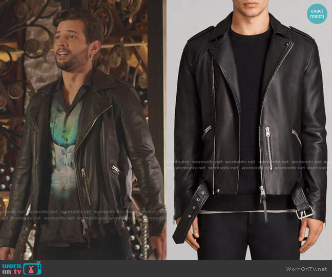 Kaho Leather Biker Jacket by All Saints worn by Sam Flores (Rafael de la Fuente) on Dynasty