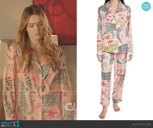 Snow Leopard Long Pajama Set by Karen Mabon worn by Kirby Anders (Maddison Brown) on Dynasty
