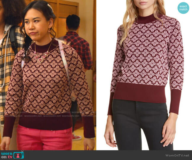 Floral Spade Pima Cotton Sweater by Kate Spade worn by Eleanor Wong (Ramona Young) on Never Have I Ever