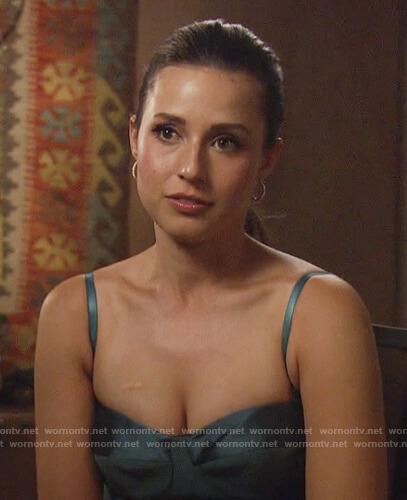 Katie's black metallic blouse on The Bachelorette