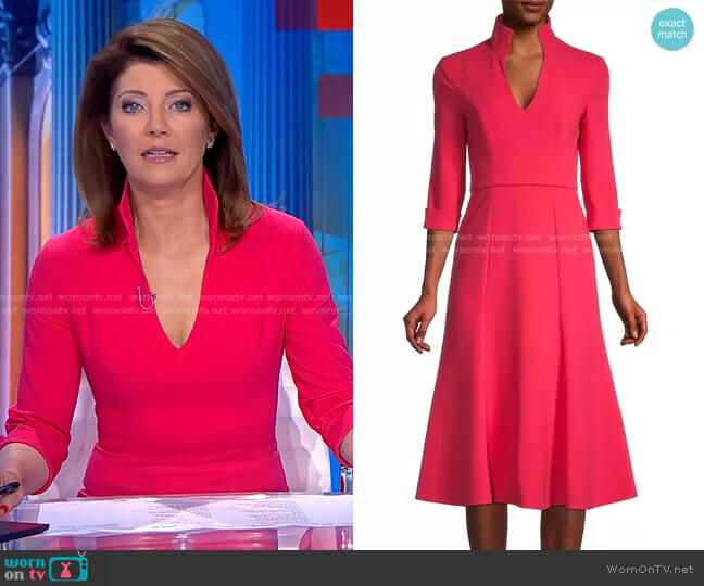 Kensington Dress by Black Halo worn by Norah O'Donnell  on CBS Evening News