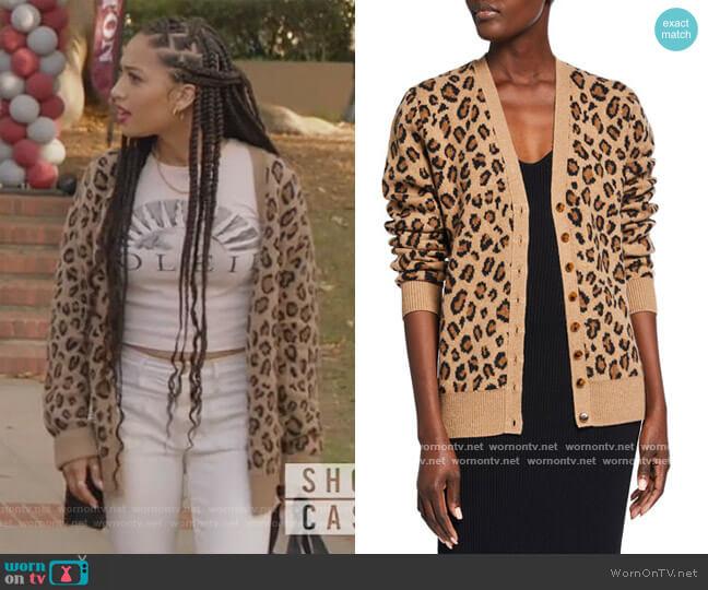 Amelia Cheetah-Print Cashmere Cardigan by Khaite worn by Olivia Baker (Samantha Logan) on All American