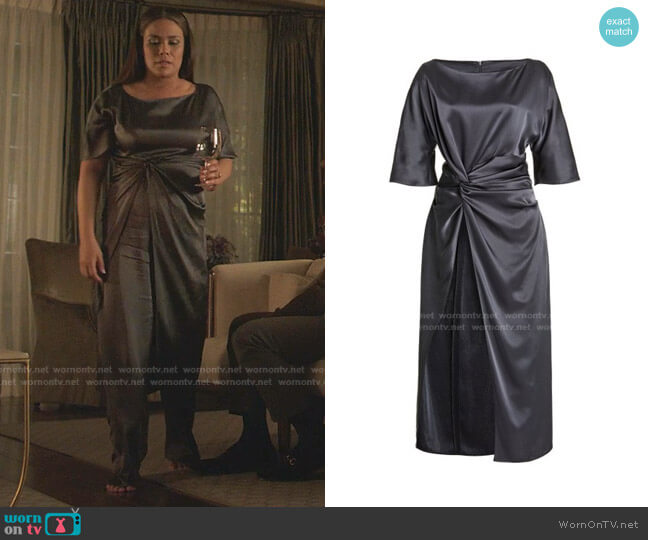 Double Faced Satin Long Twist Tunic by Lapointe worn by Cristal Jennings (Daniella Alonso) on Dynasty