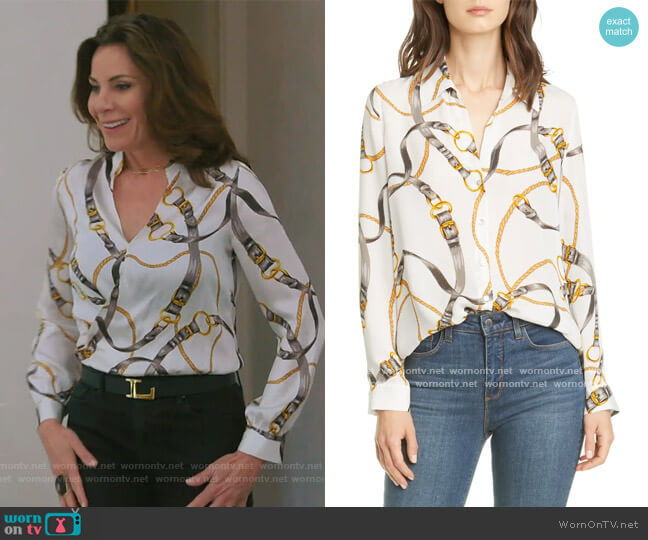 Nina Belt Print Silk Blouse by L'Agence worn by Luann de Lesseps  on The Real Housewives of New York City