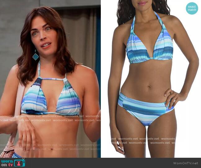Ocean Tides Halter Bikini Top & Ocean Printed Bikini Bottom by La Blanca worn by Britt Westbourne (Kelly Thiebaud) on General Hospital