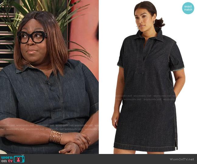 Plus Size Denim Shift Dress by Lauren Ralph Lauren worn by Loni Love  on E! News