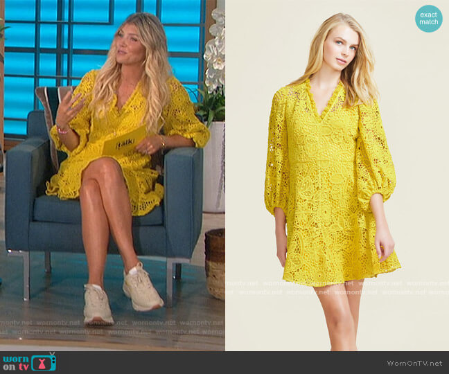 Corded Lace Full Sleeve Dress by Pearl by Lela Rose worn by Amanda Kloots  on The Talk