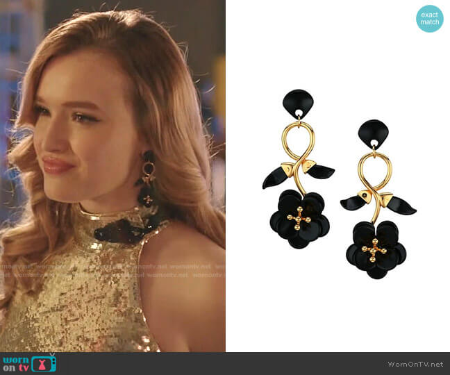 Floral Vine 14K Goldplated & Acetate Drop Earrings by Lele Sadoughi worn by Kirby Anders (Maddison Brown) on Dynasty