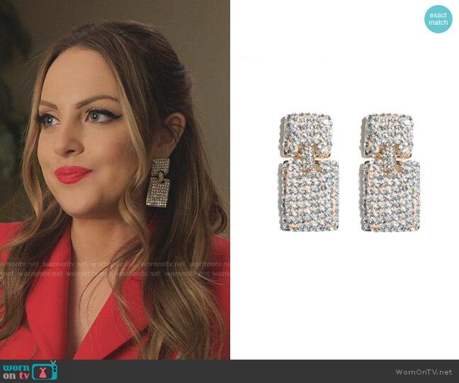 Victoria Crystal Drop Earrings by Lele Sadoughi worn by Fallon Carrington (Elizabeth Gillies) on Dynasty