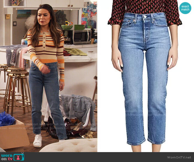 Levis Wedgie Jeans in Jive Sound worn by Carly Shay (Miranda Cosgrove) on iCarly