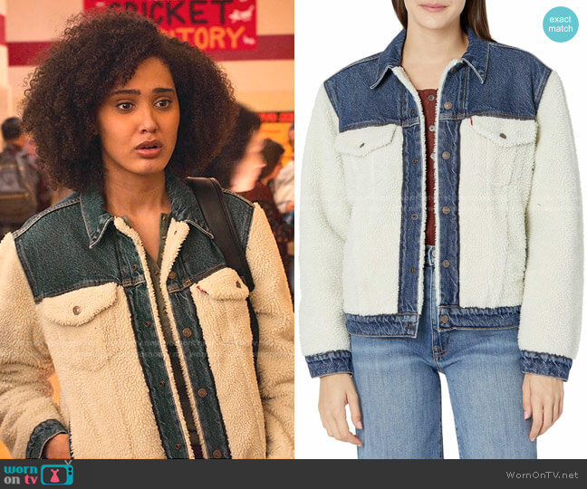Pieced Sherpa Ex-Boyfriend Jackets by Levi's worn by Fabiola Torres (Lee Rodriguez) on Never Have I Ever