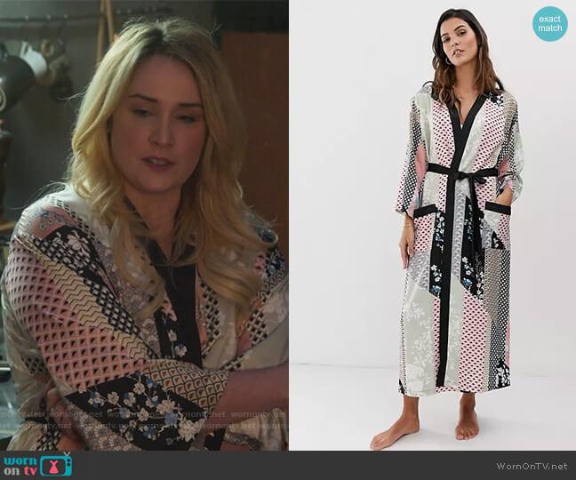 Lindex Ella M long tile print kimono  worn by Davia (Emma Hunton) on Good Trouble