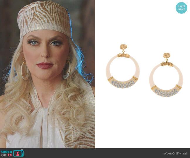 Lodge Raffia Hoop Earrings by Gas Bijoux  worn by Alexis Carrington (Elaine Hendrix) on Dynasty