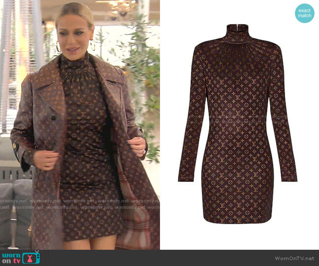 Monogram Print Long-Sleeved Dress by Louis Vuitton worn by Dorit Kemsley  on The Real Housewives of Beverly Hills