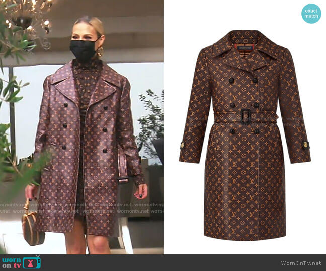 Monogram Belted Trench Coat by Louis Vuitton worn by Dorit Kemsley  on The Real Housewives of Beverly Hills