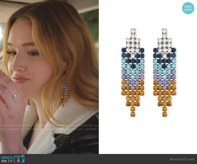 Fortune Fringe Crystal Earrings by Lulu Frost worn by Kirby Anders (Maddison Brown) on Dynasty