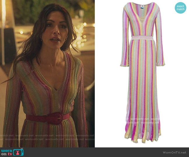 Metallic striped crochet-knit maxi dress by M Missoni worn by Billie Connelly (Sara Shari) on Sex/Life