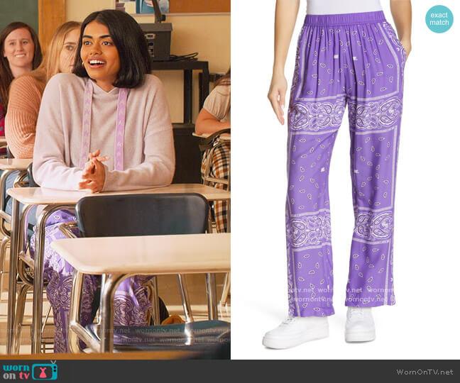 Staycation Bandana Print Pants by Melody Ehsani worn by Aneesa (Megan Suri) on Never Have I Ever