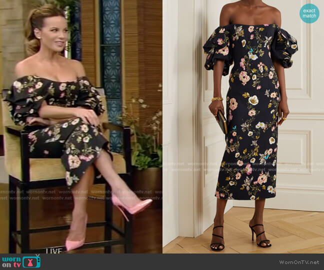 Off-the-Shoulder Floral-Print Dress by Monique Lhuillier worn by Kate Beckinsale on Live with Kelly and Ryan