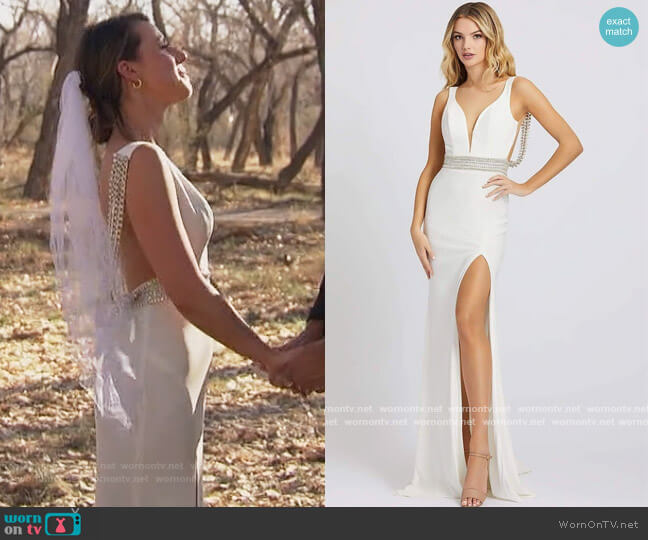 Crystal Accent Deep V-Neck Gown by Mac Duggal worn by Katie Thurston  on The Bachelorette