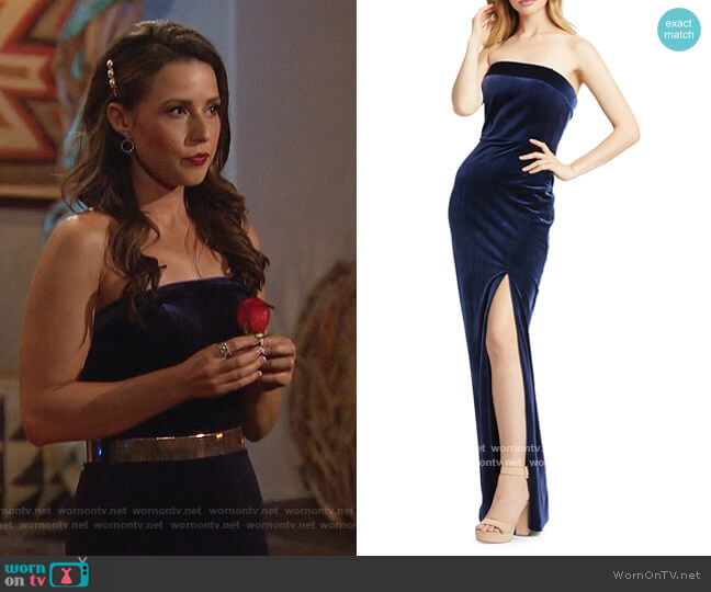 Strapless Velvet Column Gown by Mac Duggal worn by Katie Thurston  on The Bachelorette