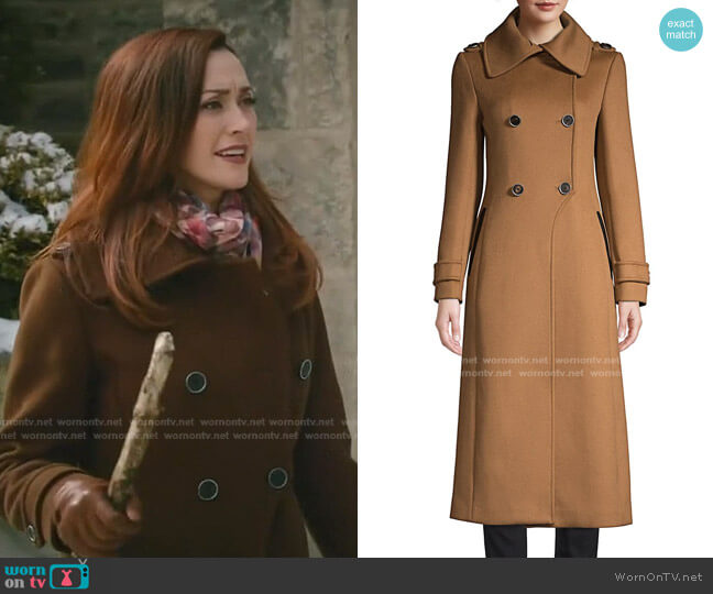 Elodie Double-Breasted Wool Coat by Mackage worn by Abigail Pershing (Sarah Power) on Good Witch