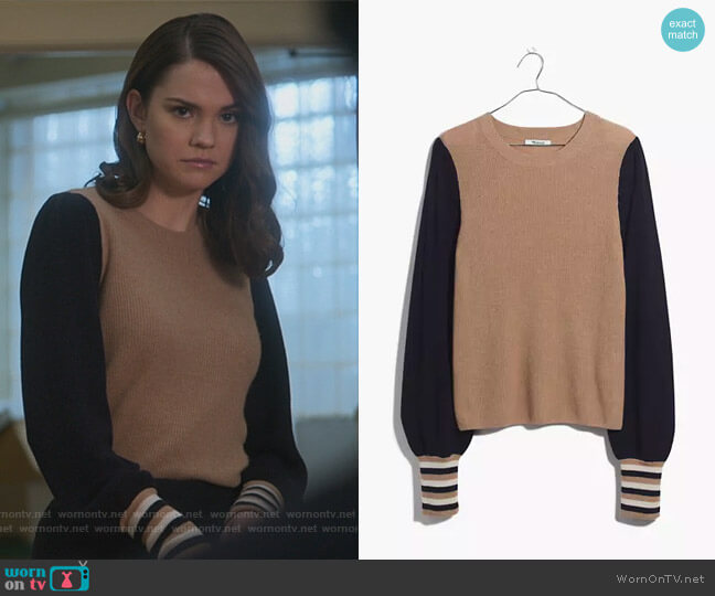 Colorblock Baybrook Pullover Sweater by Madewell worn by Callie Foster (Maia Mitchell) on Good Trouble