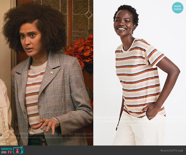 Whisper Cotton Rib-Crewneck Tee in Daniels Stripe by Madewell worn by Fabiola Torres (Lee Rodriguez) on Never Have I Ever