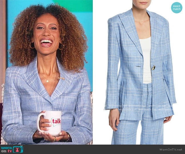 Suit Yourself Linen Check Peplum Blazer and Pants by Maggie Marilyn worn by Elaine Welteroth  on The Talk