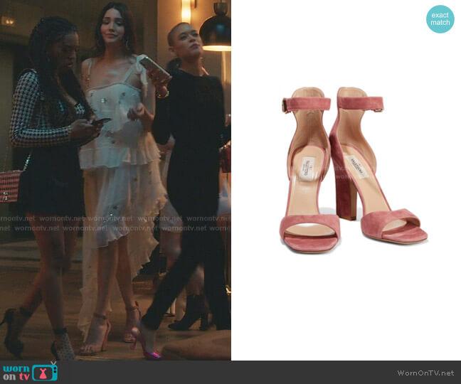 Suede Ankle Strap Sandals by Schutz worn by Luna La (Zión Moreno) on Gossip Girl