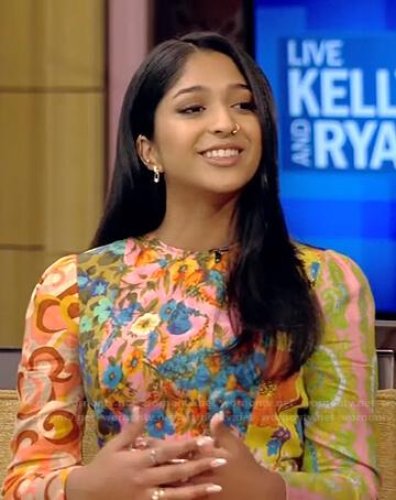 Maitreyi Ramakrishnan's mixed floral print dress on Live with Kelly and Ryan