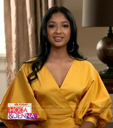 Maitreyi Ramakrishnan's yellow puff sleeve belted dress on Today