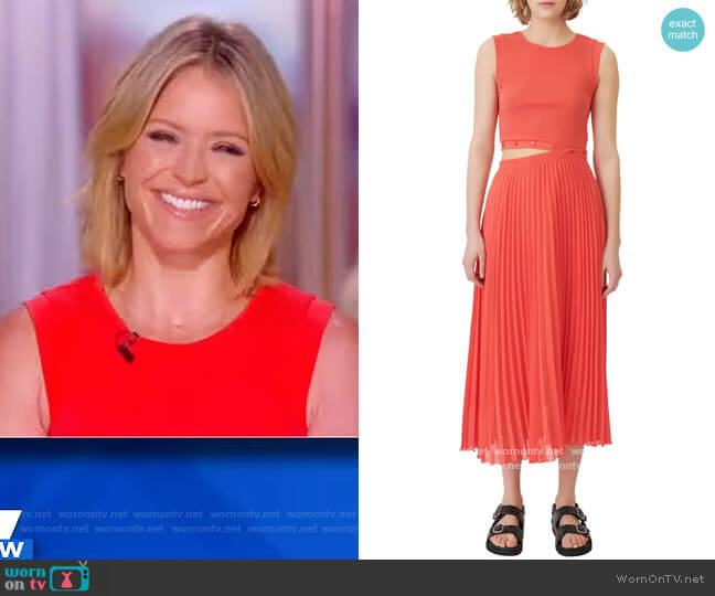 Riplit Two-Piece Knit & Pleated Midi Dress by Maje worn by Sara Haines  on The View