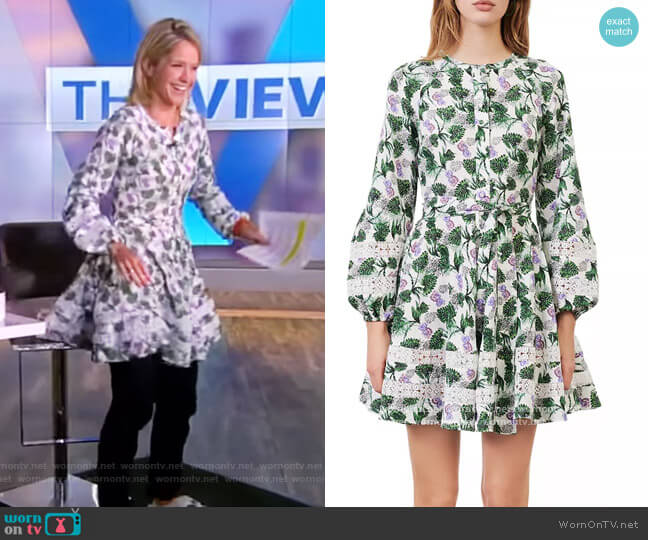Roman Floral Print Lace Inset Dress by Maje worn by Sara Haines  on The View
