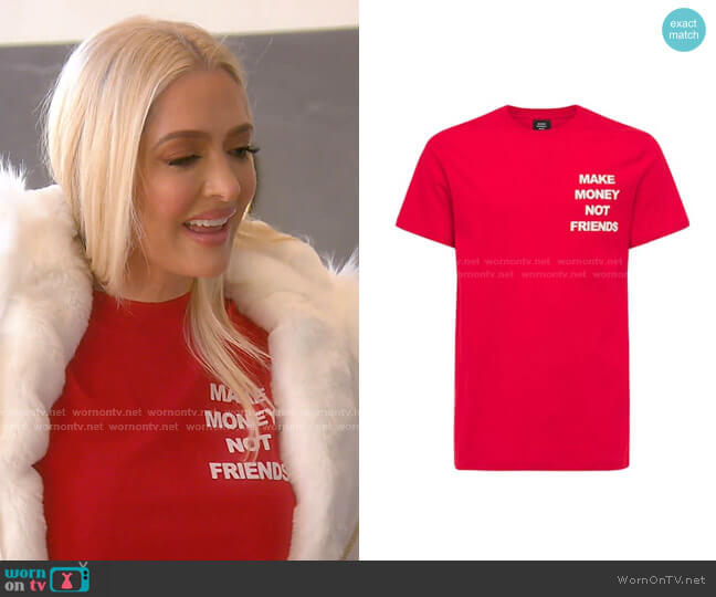 Logo Print Cotton Jersey T-shirt by Make Money Not Friends worn by Erika Jayne  on The Real Housewives of Beverly Hills