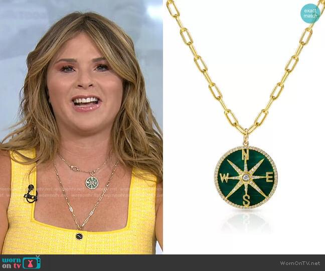 Malachite Diamond Compass Charm by Anne Sisteron worn by Jenna Bush Hager  on Today