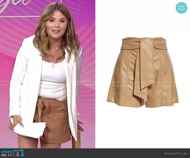 Mari Tie Waist Faux Leather Shorts by Jonathan Simkhai worn by Jenna Bush Hager  on Today