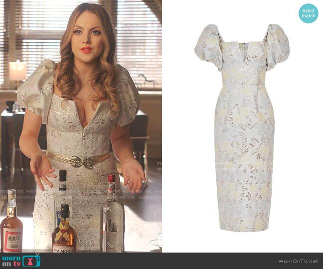 Yvette Brocade Dress by Markarian worn by Fallon Carrington (Elizabeth Gillies) on Dynasty