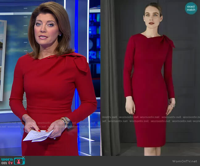 Melrose Dress by The Fold London worn by Norah O'Donnell  on CBS Evening News