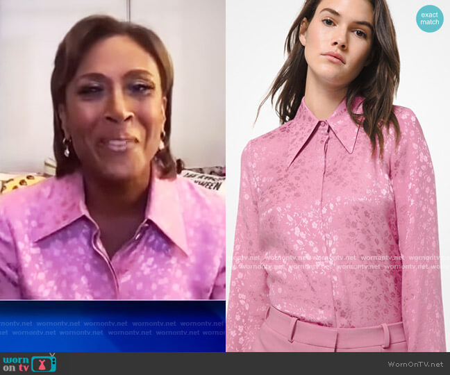 Floral Silk Jacquard Shirt by Michael Kors worn by Robin Roberts on The View