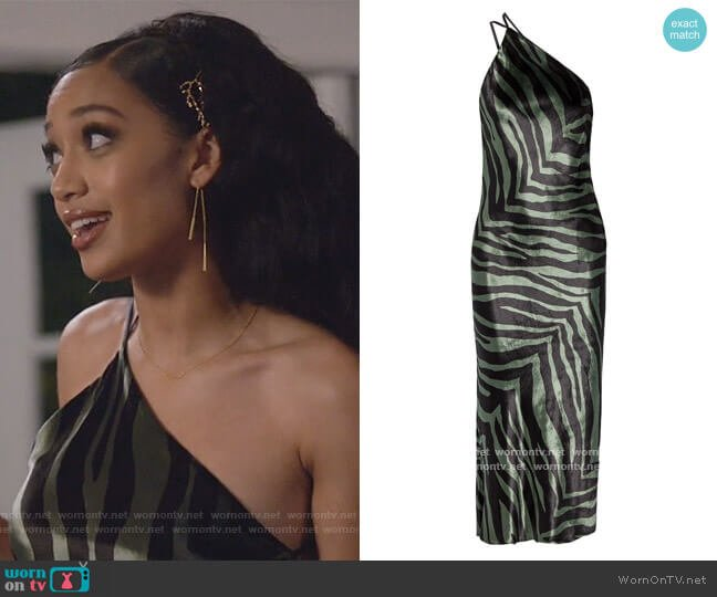 Open-back draped zebra-print velvet midi dress by Michelle Mason worn by Olivia Baker (Samantha Logan) on All American