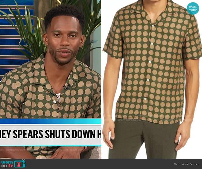 Miyagi Shirt in Army by NN07 worn by Victor Cruz on E! News Daily Pop