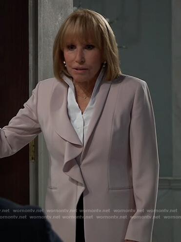 Monica's pink ruffle lapel blazer on General Hospital