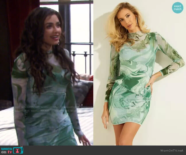 Nadine Dress in Water Marble Print by Guess worn by Ciara Brady (Victoria Konefal) on Days of our Lives