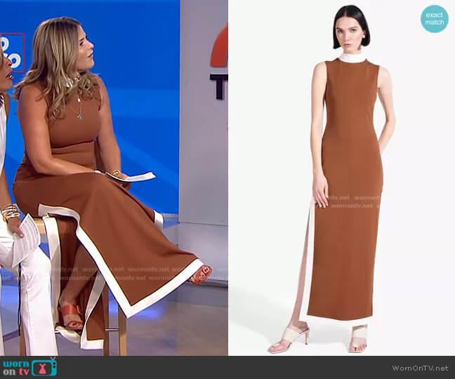 Noir Contrast Trim Mock Neck Maxi Dress by Staud worn by Jenna Bush Hager  on Today