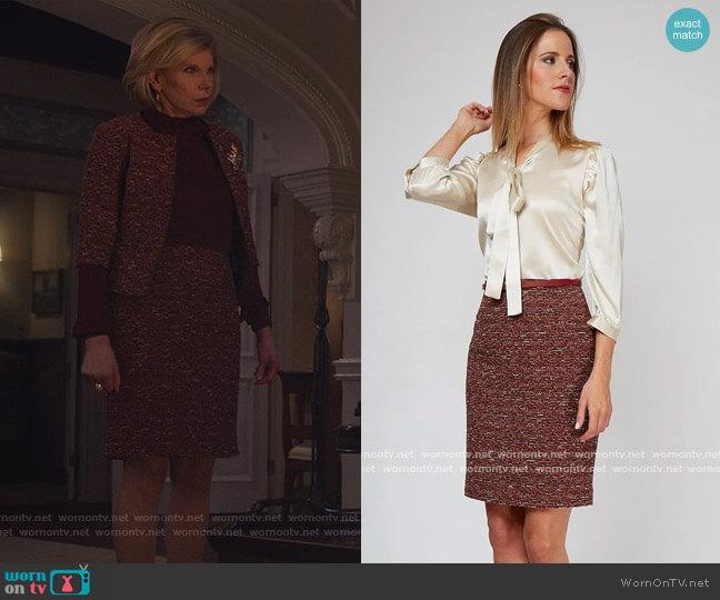 Chelsea Skirt by Nora Gardner worn by Diane Lockhart (Christine Baranski) on The Good Fight