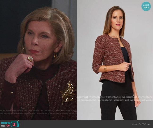 Juliet Jacket by Nora Gardner worn by Diane Lockhart (Christine Baranski) on The Good Fight