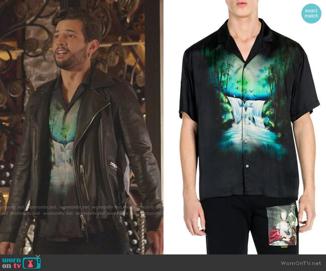 Waterfall Holiday Shirt by Off-White worn by Sam Flores (Rafael de la Fuente) on Dynasty