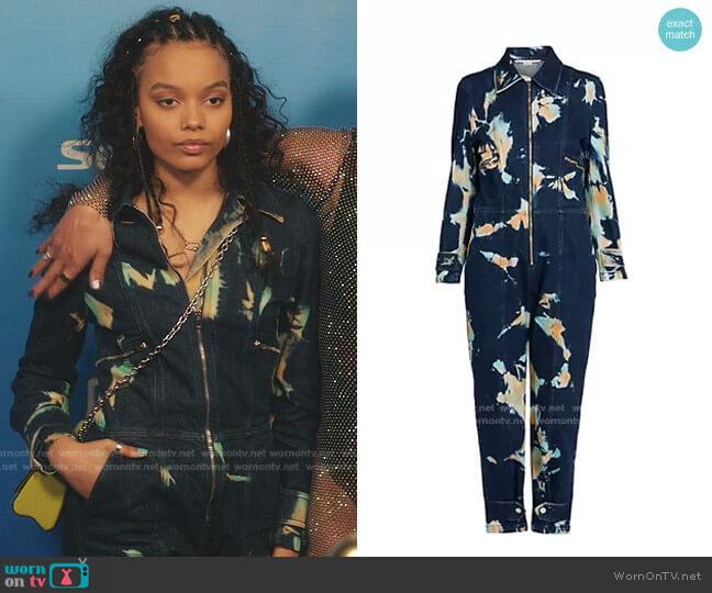Organic Stretch-Cotton Denim All-In-One Jumpsuit by Stella McCartney worn by Zoya Lott (Whitney Peak) on Gossip Girl